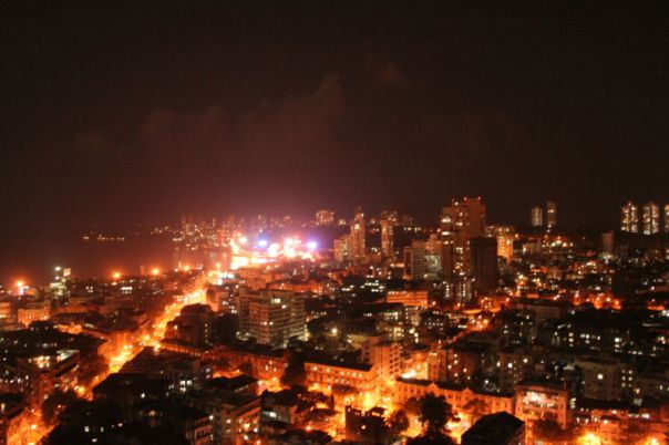 "A view of Mumbai at night, ""clean"" and shining bright!"