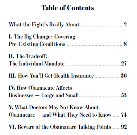 obamacare guide table of contents
