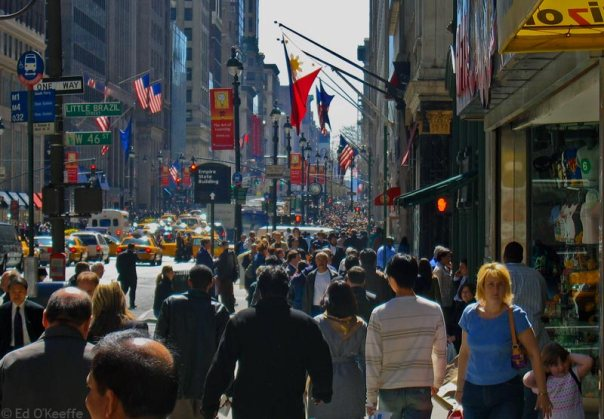 ny city street scene with people walking
