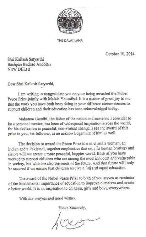 Letter to Satyarthi from Dalai Lama