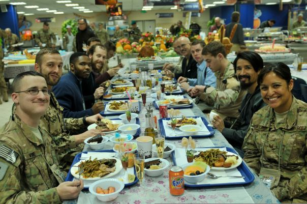 Coalition forces and civilian contractors celebrating Thanksgiving in Kabul, Afghanistan - 2013